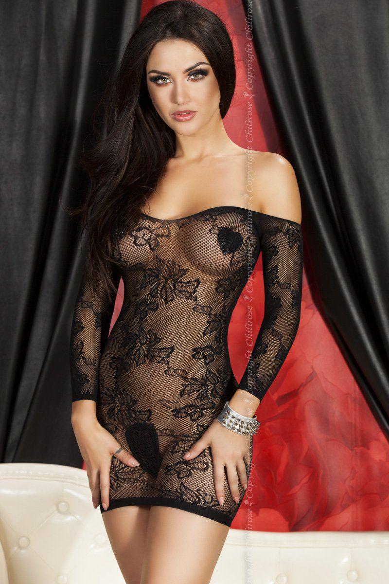 Короткое сетчатое платье с цветочным узором - фото 248268