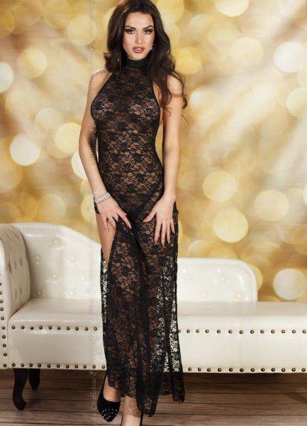 Полупрозрачное кружевное длинное платье
