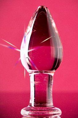Розовая гладкая анальная пробка из стекла - 10 см.