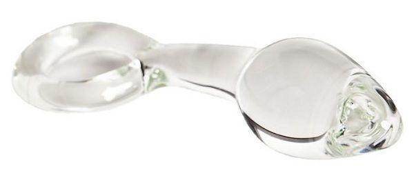 Стеклянная анальная пробка с ручкой в виде кольца - 14 см.