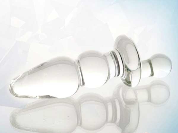 Стеклянная анальная пробка с ручкой - 16 см. - фото 535643