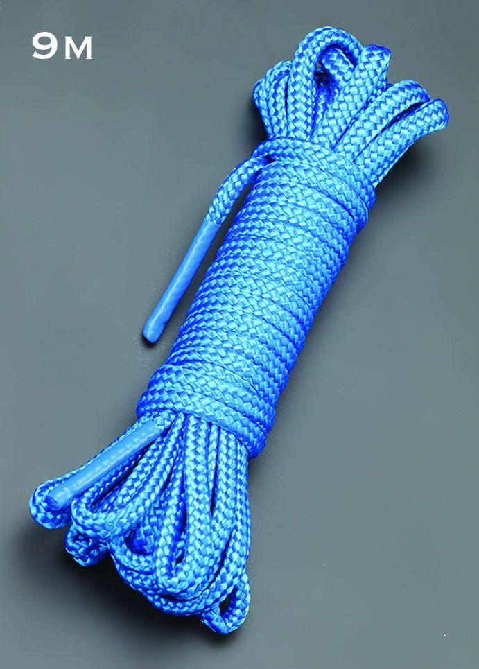 Голубая веревка для связывания - 9 м. - фото 143895