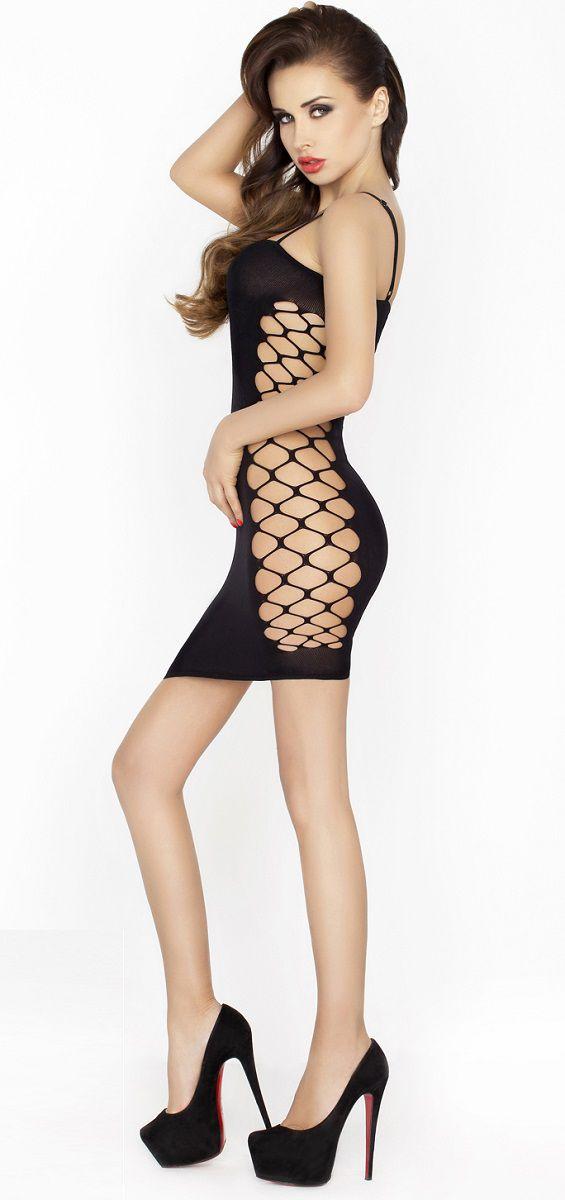 Сексуальное облегающее платье с сетевыми вставками по бокам - фото 144156