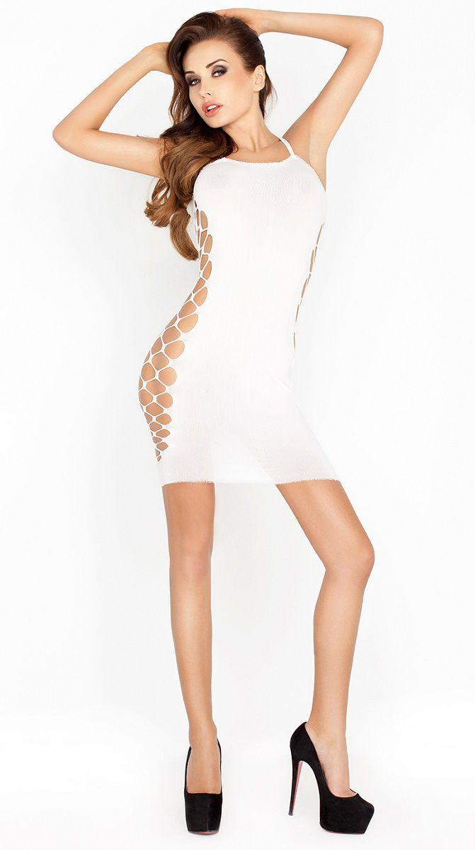 Сексуальное облегающее платье с сетевыми вставками по бокам - фото 144157