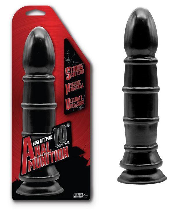 Чёрный анальный фаллоимитатор с рёбрышками - 25,4 см. - фото 144592