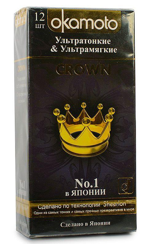 Ультратонкие ультрамякие презервативы телесного цвета Okamoto Crown - 12 шт. - фото 144752