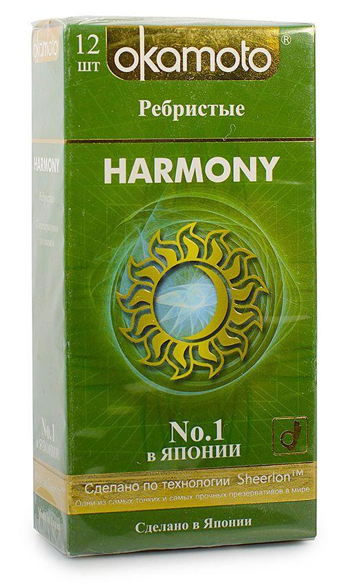 Презервативы анатомической формы с особой ребристой структурой Okamoto Harmony - 12 шт. - фото 144753