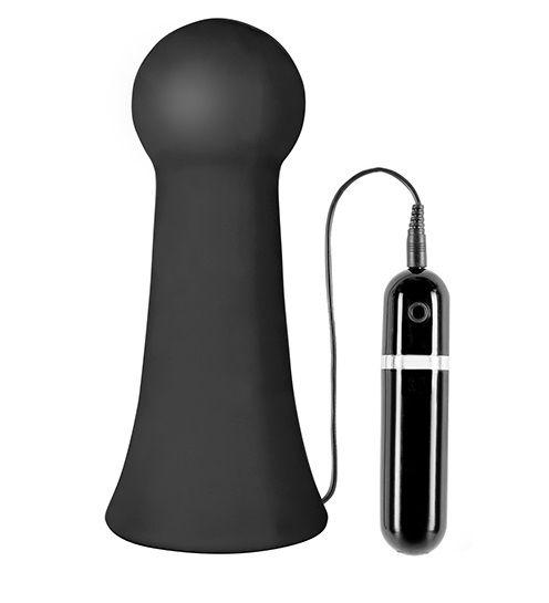 Большая чёрная вибропробка MENZSTUFF VIBRATING BUTTCRASHER BULBOUS - 20 см. - фото 144998