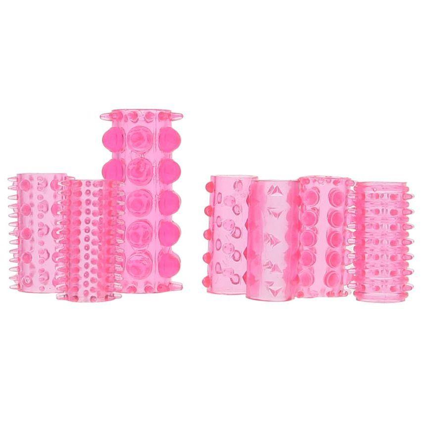 Набор из 7 розовых насадок на пенис ONE-A-DAY PENIS SLEEVES PINK - фото 145011