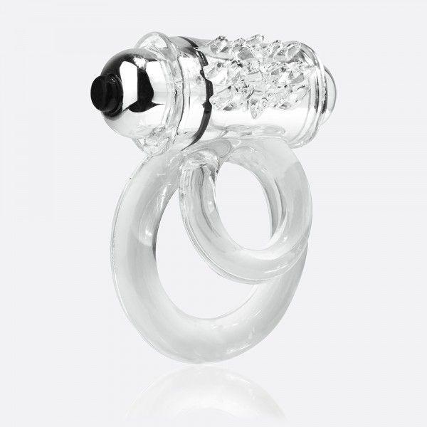 Прозрачное эрекционное кольцо с шишечками и подхватом мошонки DOUBLE O 6 CLEAR - фото 1156664