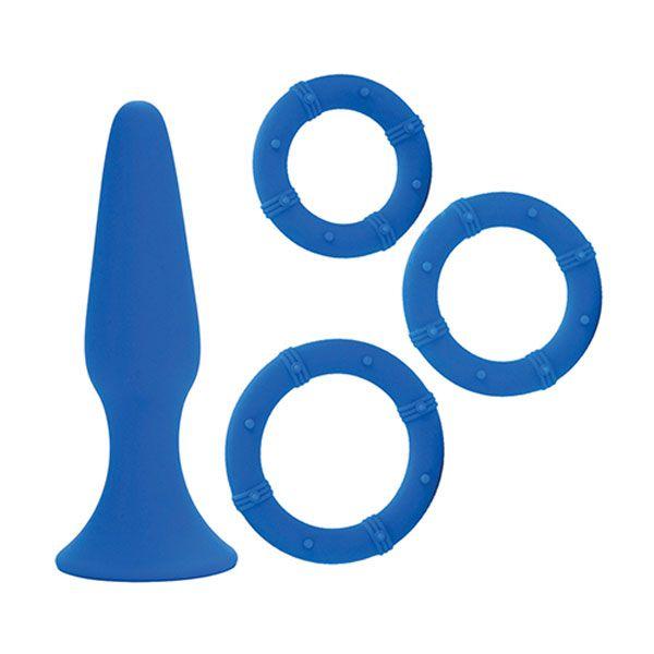 Синий набор Posh Silicone Performance Kits: анальная пробка и 3 эрекционных кольца - фото 145352