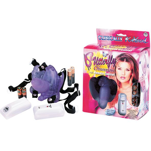 Фиолетовая вибробабочка с фаллосом  BUTTERFLY OBSESSION - фото 145370