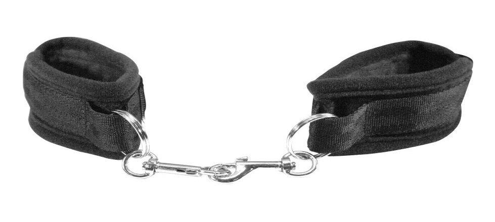 Чёрные наручники с карабинами Beginners Handcuffs