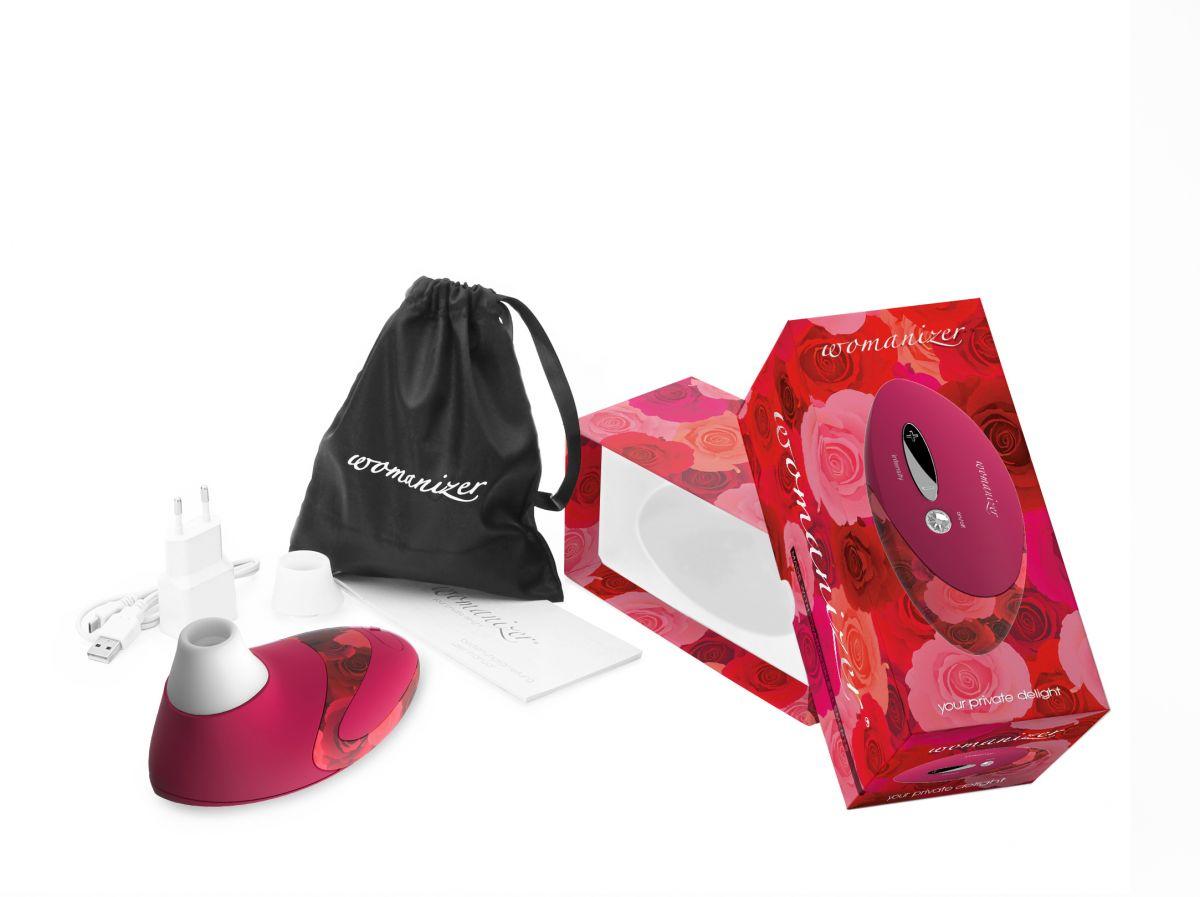 Вакуумный клиторальный стимулятор Womanizer W500 Pro Rose с 2 сменными насадками