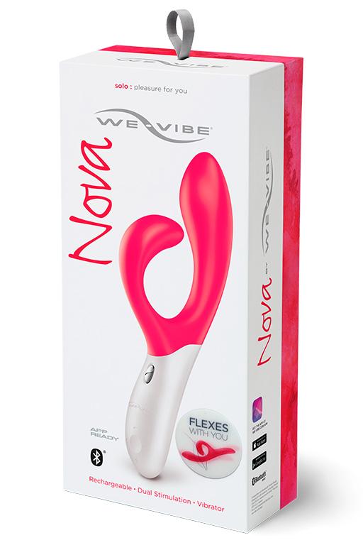Розовый вибромассажёр с клиторальным отростком We Vibe Nova Pink - 21,5 см.