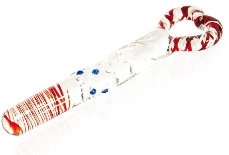 Стеклянный фаллоимитатор с цветными вкраплениями и ручкой в виде сердца - 20 см.