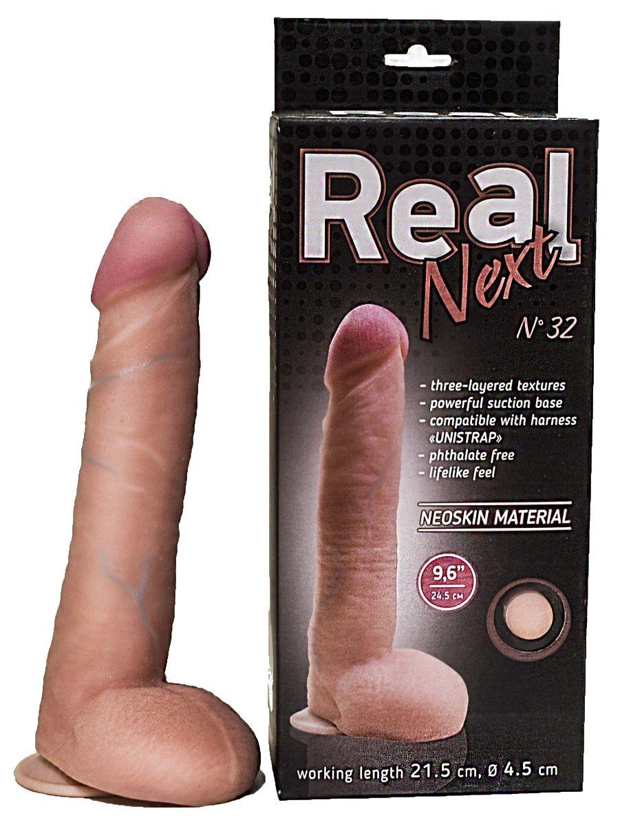 Большой фаллоимитатор из неоскин на присоске REAL Next №32 - 24,5 см. - фото 146129
