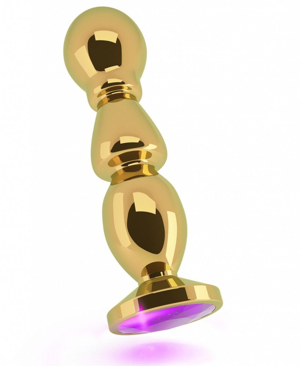 Золотистая фигурная анальная пробка с фиолетовым кристаллом - 14 см. - фото 247766