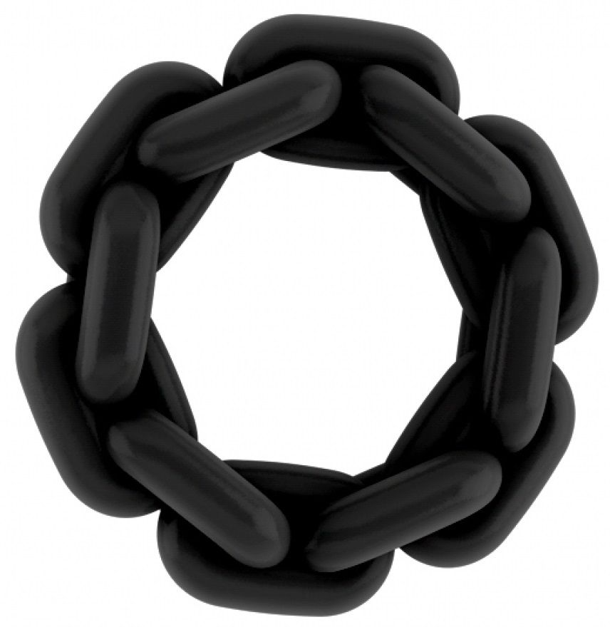 Чёрное эрекционное кольцо SONO №4