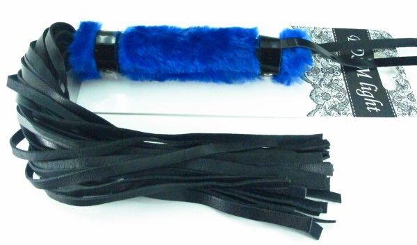 Нежная плеть с синим мехом BDSM Light - 43 см. - фото 24718