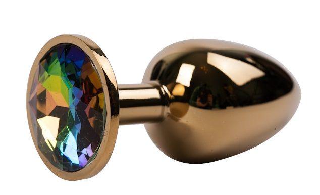 Золотистая металлическая анальная пробка с радужным стразом - 7,6 см.