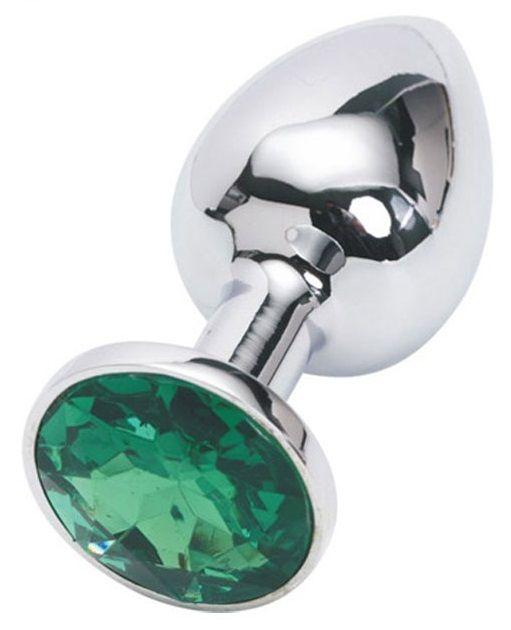Серебряная металлическая анальная пробка с зеленым стразиком - 7,6 см.