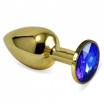 Золотистая металлическая анальная пробка с синим стразом - 7,6 см. - фото 192658