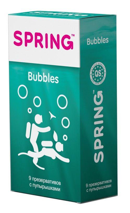 Презервативы SPRING BUBBLES с пупырышками - 9 шт. - фото 147189