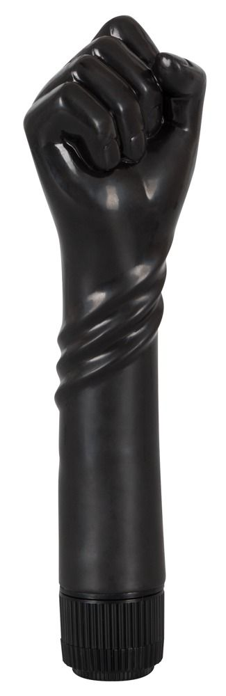Чёрный вибратор-рука для фистинга The Black Fist Vibrator - 24 см. - фото 147407