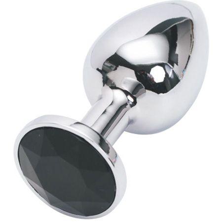 Серебристая анальная пробка с черным кристаллом - 7,6 см.