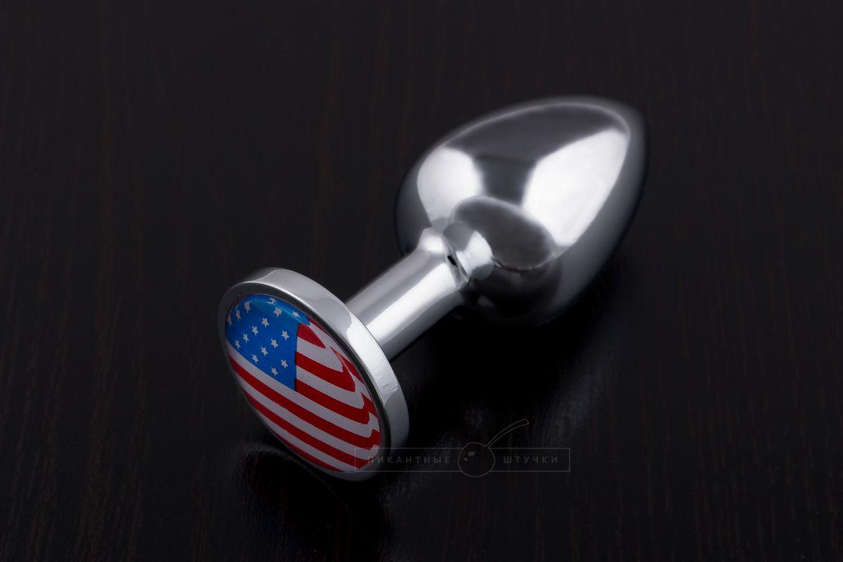 Маленькая анальная пробка с флагом США - 7,5 см. - фото 248255