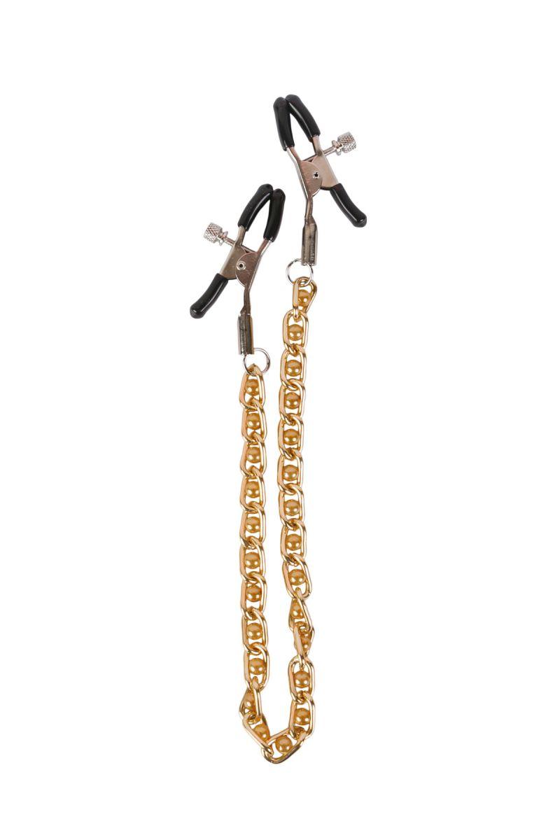 Зажимы на соски с золотистой цепью и бежевыми бусинками - фото 254349