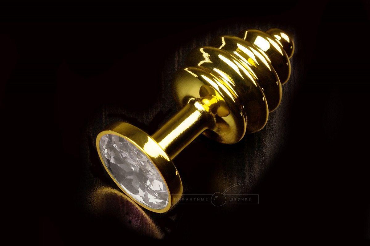 Маленькая золотистая витая пробка с прозрачным кристаллом - 7,5 см. - фото 248338
