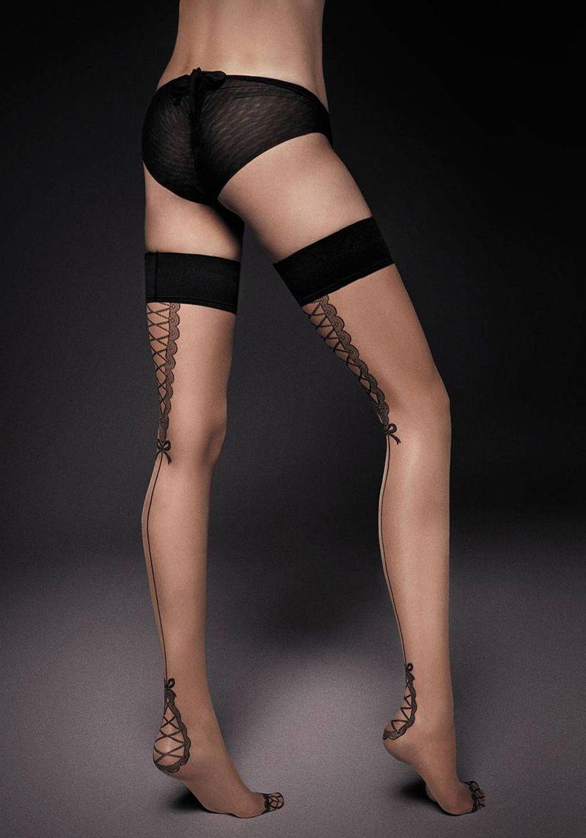 Тонкие чулочки с широкой резинкой и имитацией шнуровки сзади Lea
