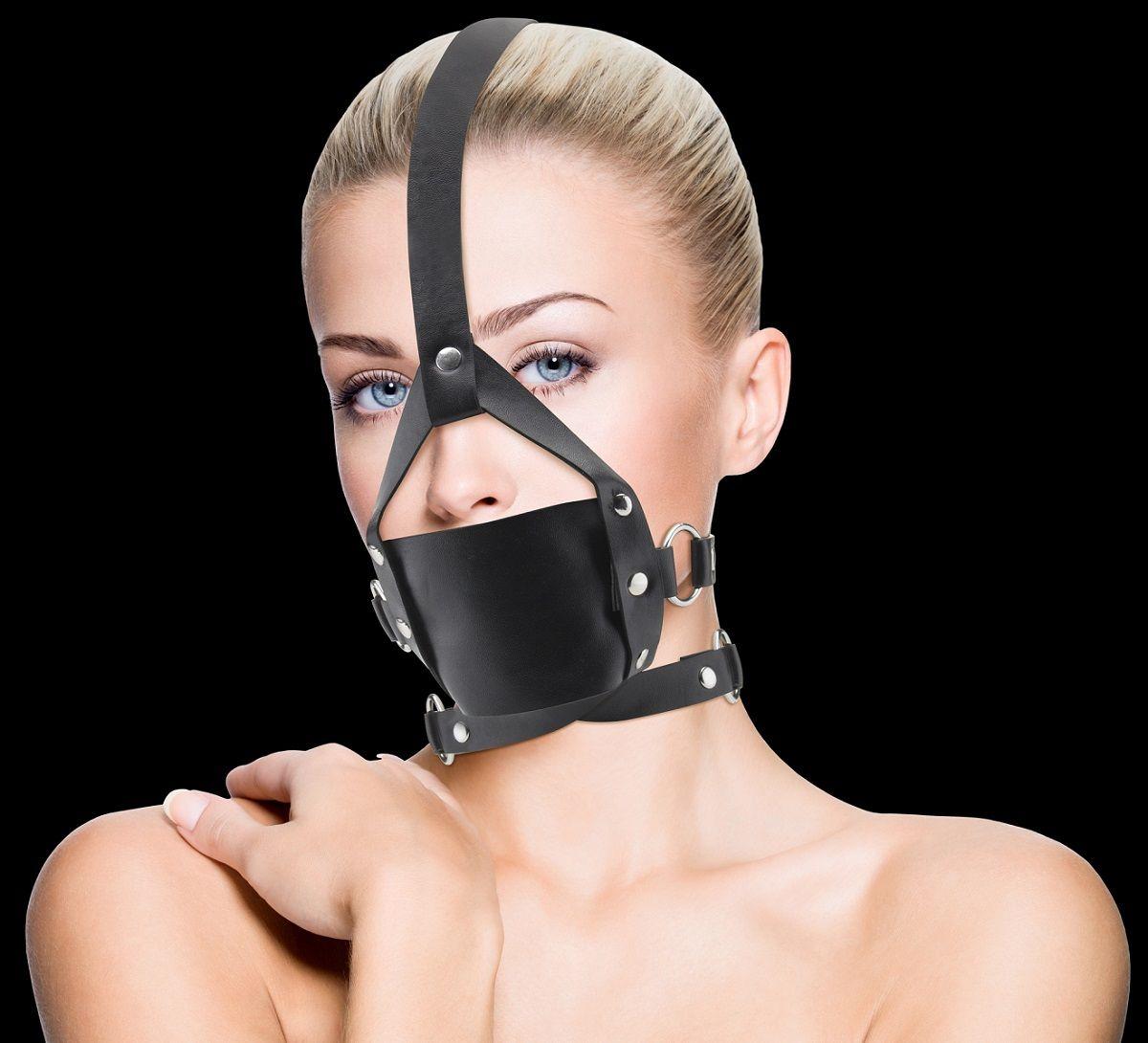 Чёрный кожаный кляп Leather Mouth Gag - фото 147906