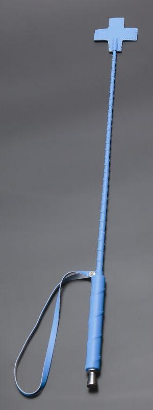 Голубой стек с наконечником-крестом из искусственной кожи - 70 см. - фото 1662235