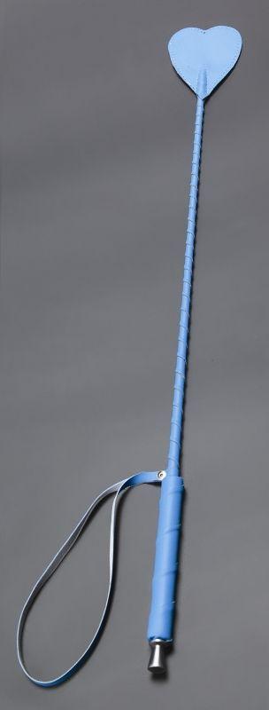 Голубой стек с наконечником-сердцем из искусственной кожи - 70 см.