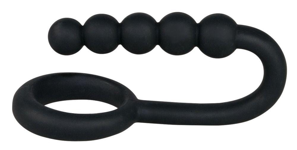 Эрекционное кольцо с анальной цепочкой Cockring with Balls - фото 148125