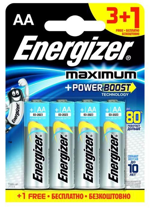 Батарейки Energizer MAX типа E91/AA - 4 шт. (3+1 в подарок) - фото 1159529