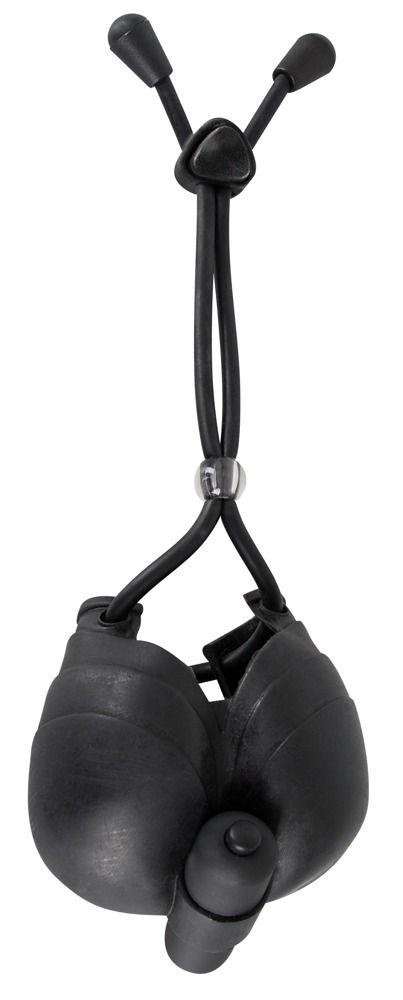 Чёрное эрекционное лассо с подхватом мошонки Bad Kitty - фото 148219