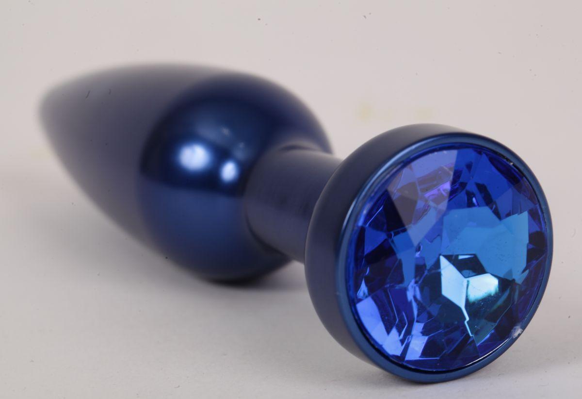 Большая синяя анальная пробка с синим стразом - 11,2 см. - фото 194345