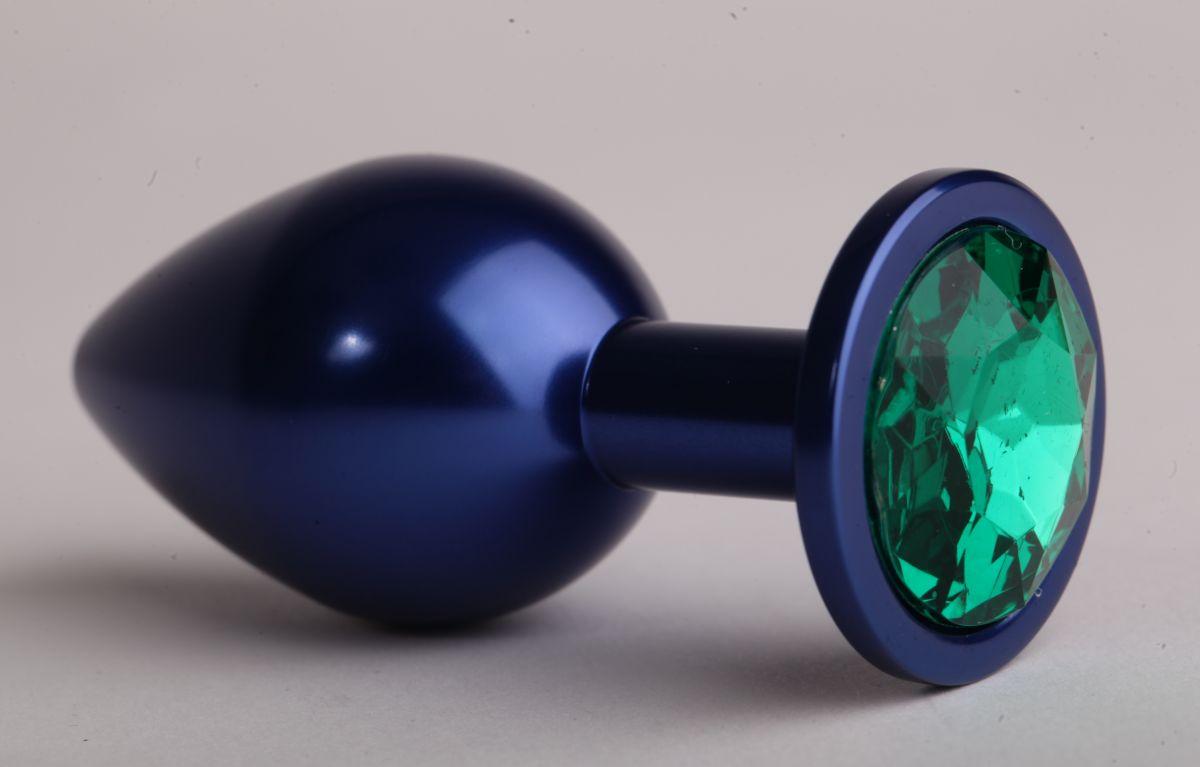 Синяя анальная пробка с зеленым кристаллом - 8,2 см. - фото 148432