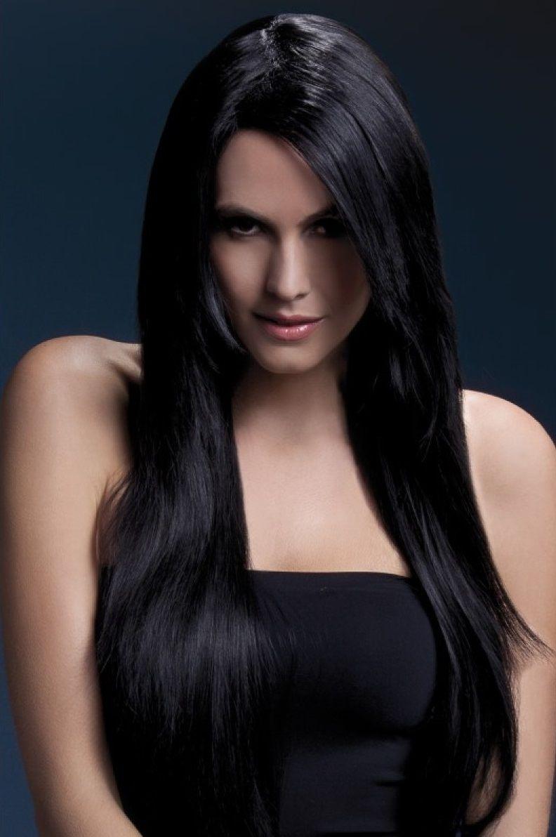 Темноволосый парик с косой чёлкой Amber - фото 148527