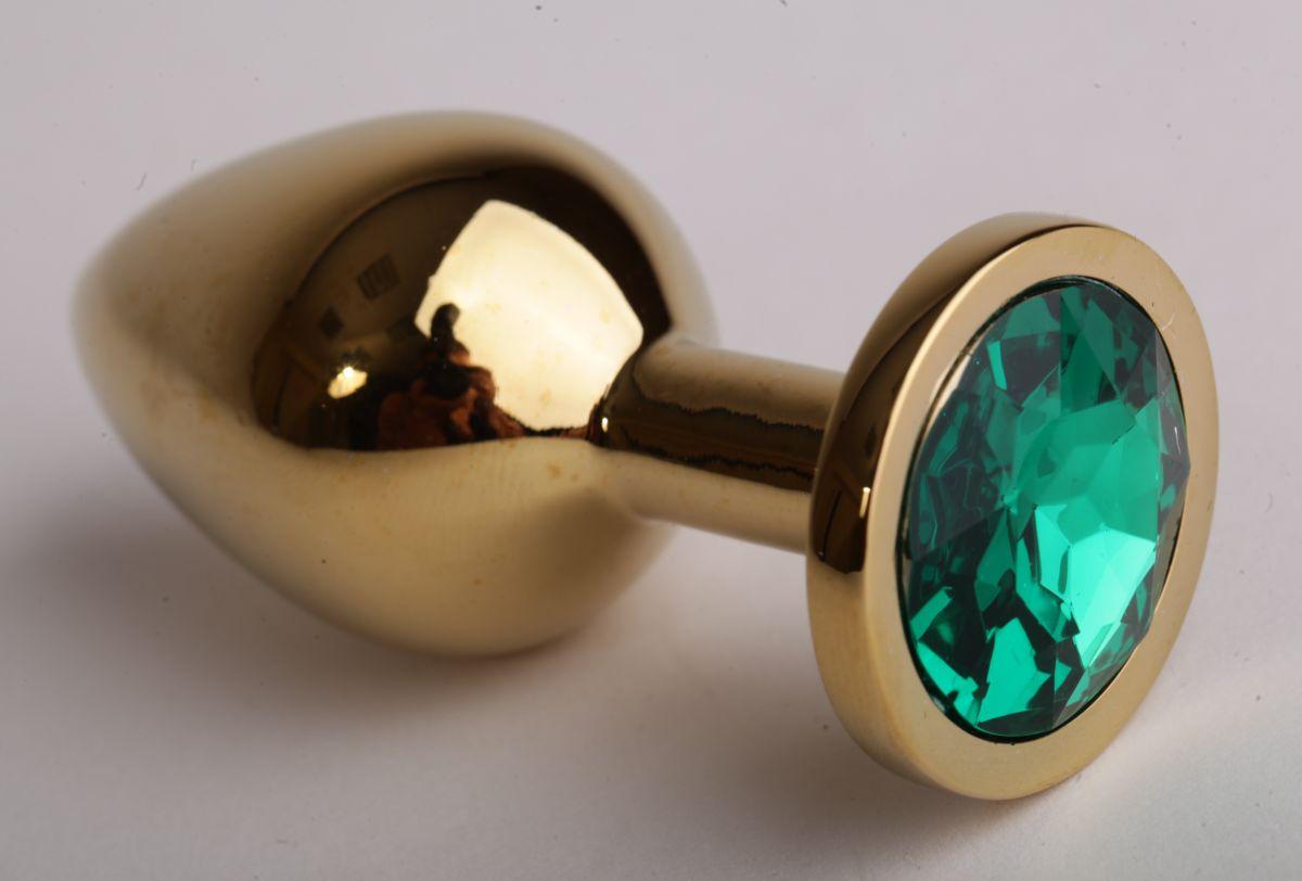 Золотистая анальная пробка с зеленым кристаллом - 9,5 см. - фото 194584