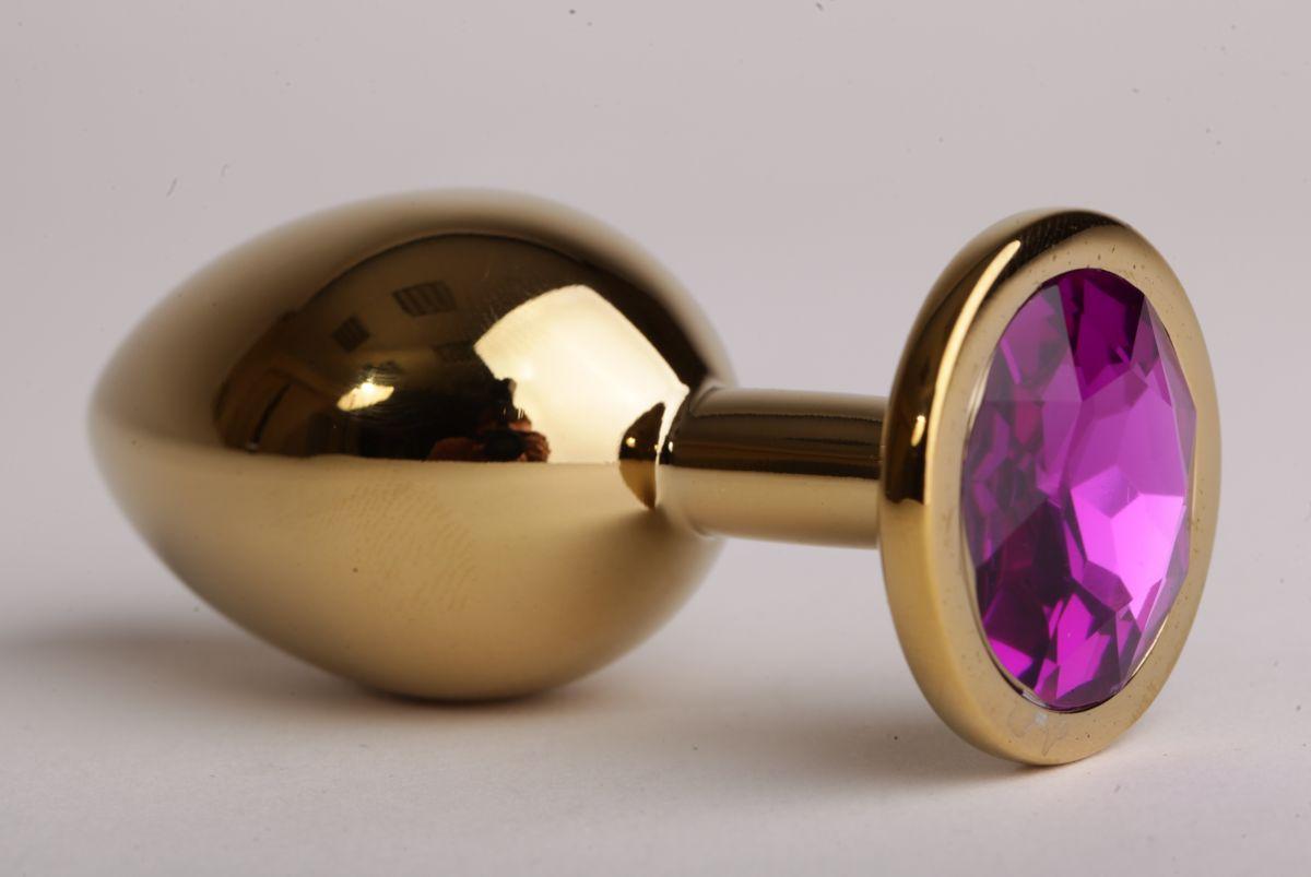 Золотистая анальная пробка с филетовым кристаллом - 8,2 см. - фото 194585