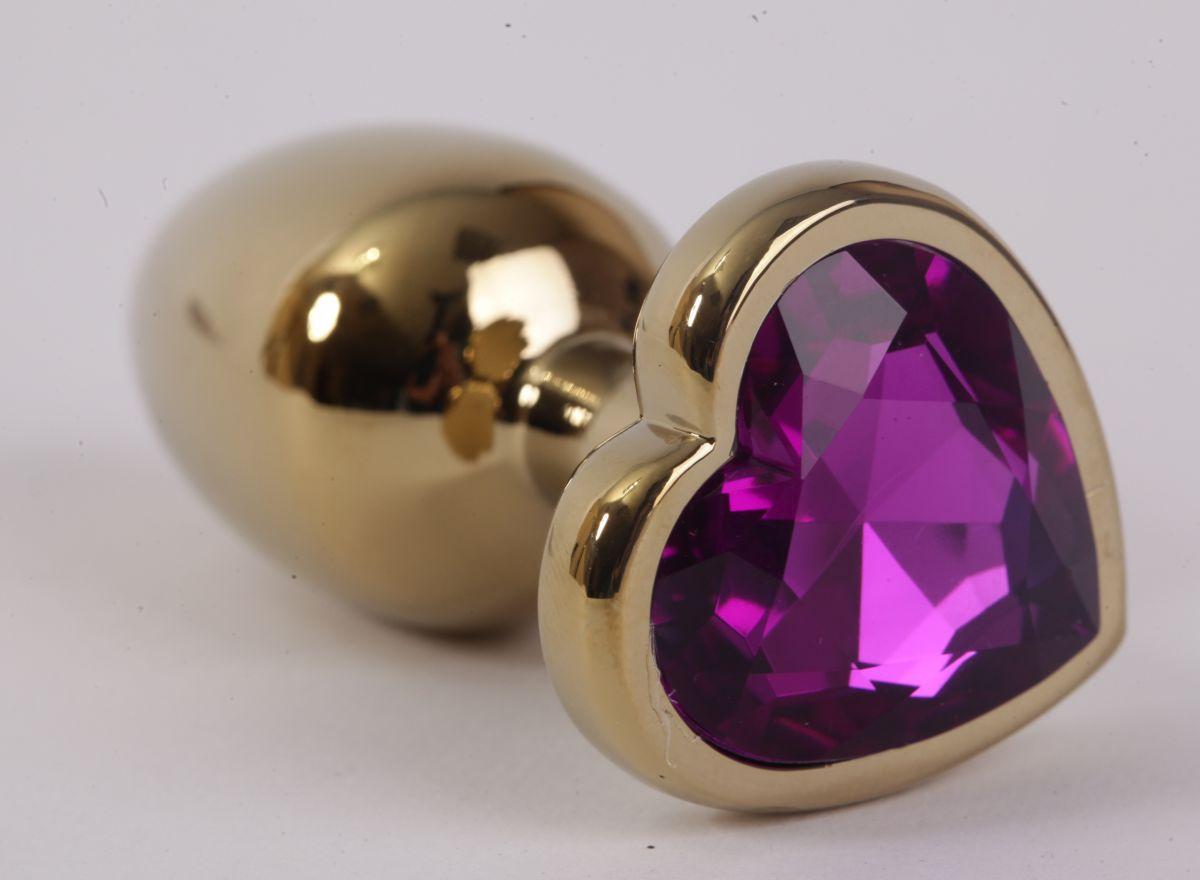 Золотистая анальная пробка с фиолетовым стразиком-сердечком - 8 см.