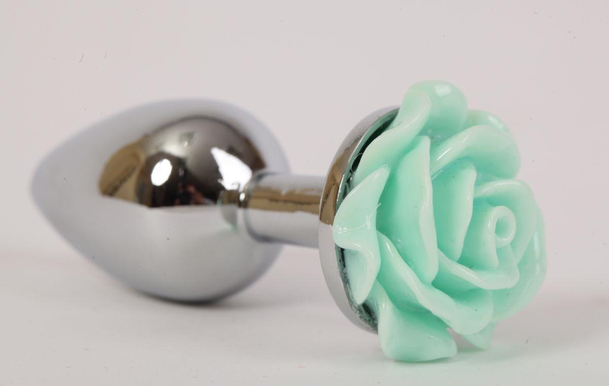 Серебристая анальная пробка с зеленой розочкой - 7,6 см. - фото 194605