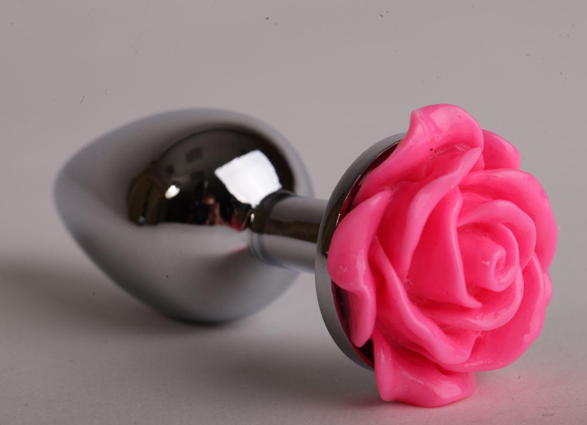 Серебристая анальная пробка с розовой розочкой - 9,5 см. - фото 194610