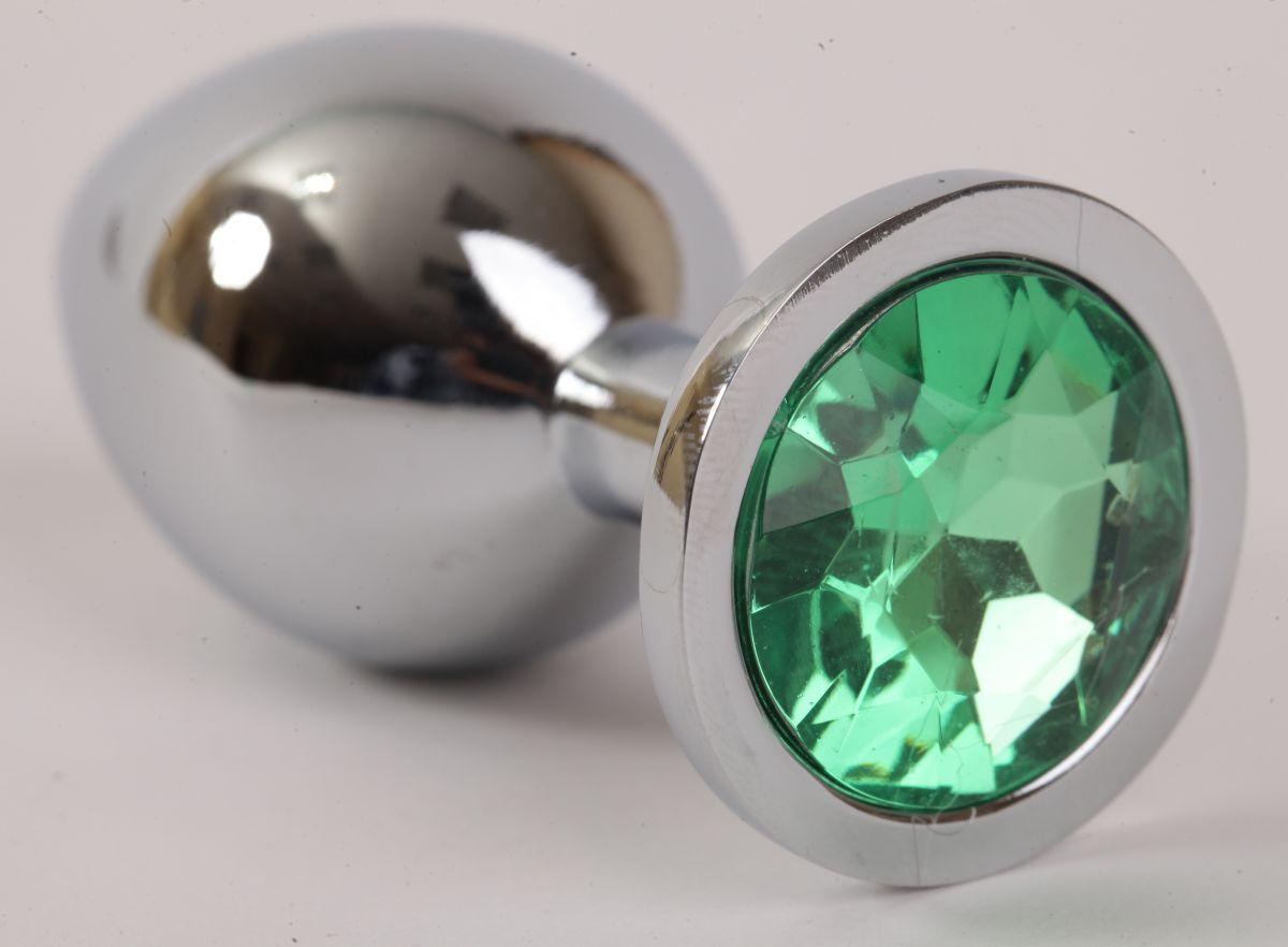 Серебристая анальная пробка с зеленым стразом - 9,5 см. - фото 227184