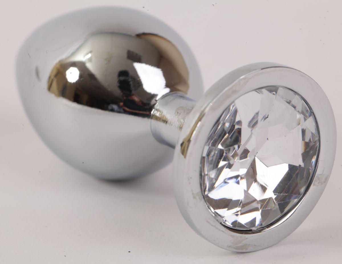 Серебристая анальная пробка с прозрачным стразом - 9,5 см.